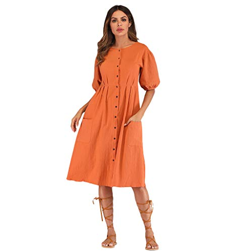 Nadition Woman Solid Color Baggy Blouse Dress Ladies Button Puffle Sleeve O-Neck Summer Dress Orange -