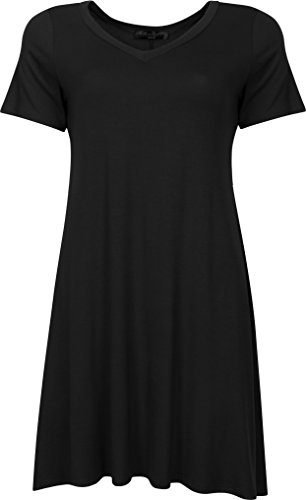 Petite V-neck Tunic (Faith in Flower Made in USA V-Neck Short Sleeve Casual Loose Swing T-Shirt Dress For Women(Small, Black))