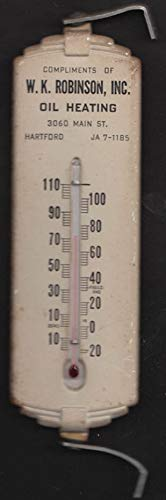 W K Robinson Oil Heating Hartford CT metal advertising thermometer ca 1940s