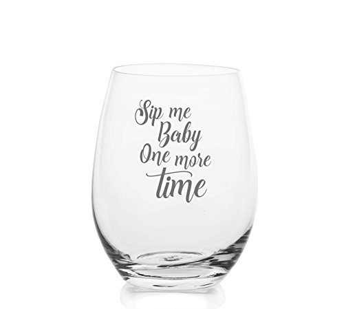 Sip Me Baby One More Time – Cute, Novelty, Etched Wine Glass by Lushy Wino - Large 16 Ounce Size with Funny, Etched Sayings - Gift Box