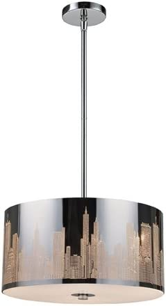 Elk 31038 3 Skyline 3-Light Pendant in Polished Stainless Steel