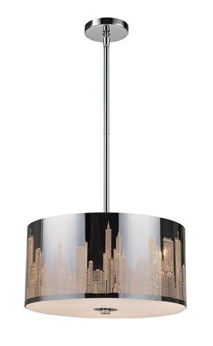 Elk 31038/3 Skyline 3-Light Pendant in Polished Stainless Steel