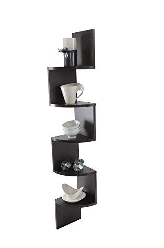 Adorn Home Essentials| Corner Zig Zag Wall Mount Shelves| 5-Tier, Walnut Finish by Adorn Home Essentials (Image #1)