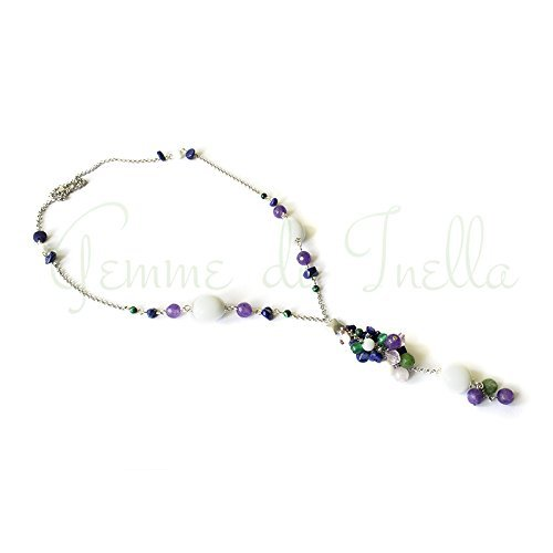 """Pendant on a rhodium plated chain rolo """"Violet"""" with white, green and purple agate, purple coral, green malachite, green chrysoprase and pink crystal with square connector"""