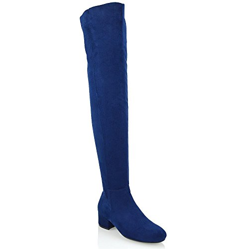 ESSEX GLAM Womens Navy Faux Suede Over The Knee Thigh High Cut Out Boots 5 B(M) US
