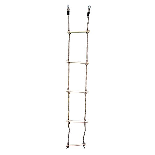 HIKS Kids Rope Ladder with Wooden Rungs Ideal for Climbing Frame, Tree House, Dens & Play House