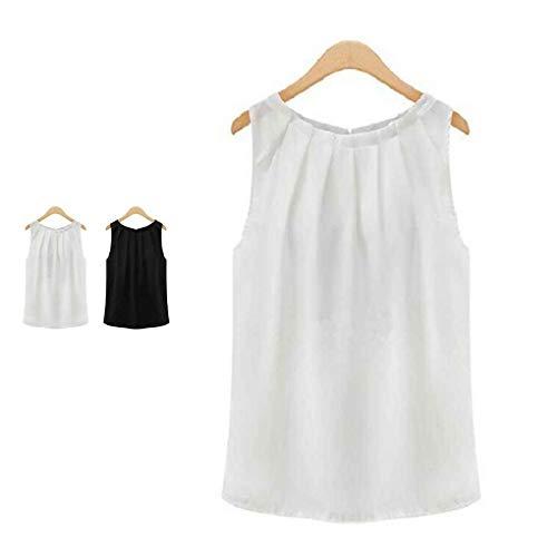 t Junecat blanc Solide Mousseline S Tropical plisse Chemise Manches XL en M Tops de Tops Soie dgqwTg