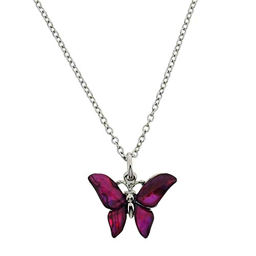 (TOC Silvertone Pink Paua Shell Butterfly Pendant Necklace 16+2
