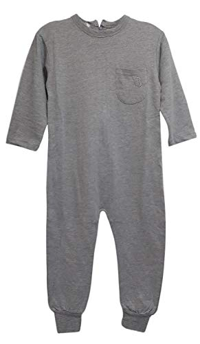 Zipper Kids Back - One-Piece Anti-Strip Jumpsuit for Kids with Special Needs (XL, Lt Grey 2-Snap)