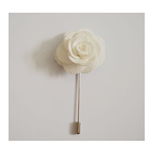 - Sunny Home Men's Lapel Flower Stick Brooch Pin Boutonniere Pin for Suit Tuxedo Corsage (3.74in, White)