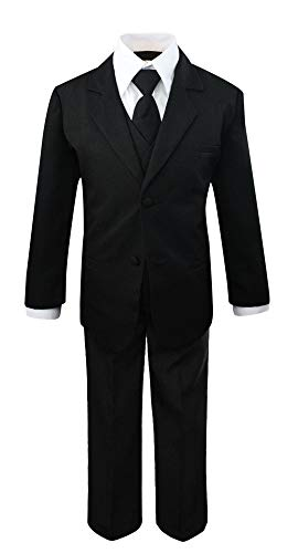 Luca Gabriel Toddler Boys' 5 Piece Classic Fit No Tail Formal Black Dress Suit Set with Tie and Vest - Size 14