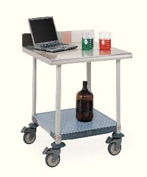 (LTM30XS3 - Description : Mobile Worktable with Stainless Steel Top, Backsplash, and Solid Shelf - MetroMax Lab Worktables, Metro -)