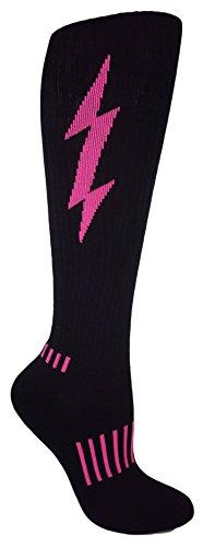 MOXY Socks Black with Hot Pink Lightning Knee-High Insane Bolt Fitness Deadlift Socks, One Size Fits All Men, Most Women