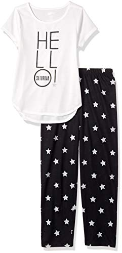 Crazy 8 Girls Big Short Sleeve Curve Hem Flame Resistant Pajama Set, Bed Hair Dont Care, M