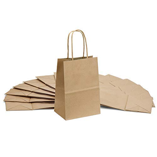 GSSUSA Brown Kraft Paper Bags Small Craft Gift Bags 25pcs 5