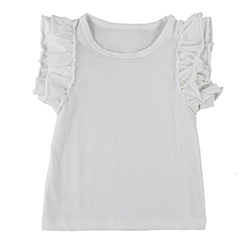 Sleeve Ruffle Shirt - Wennikids Little Girls' Double Ruffle Solid Tank Top 3X-Large White