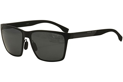 Hugo Boss Mens 0902/F/S Polarized Sunglasses Matte Black/Gray One - Sunglasses F&s
