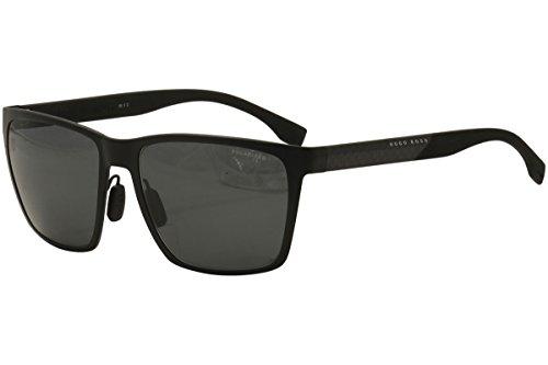 Hugo Boss Mens 0902/F/S Polarized Sunglasses Matte Black/Gray One - For Men Sunglasses Boss