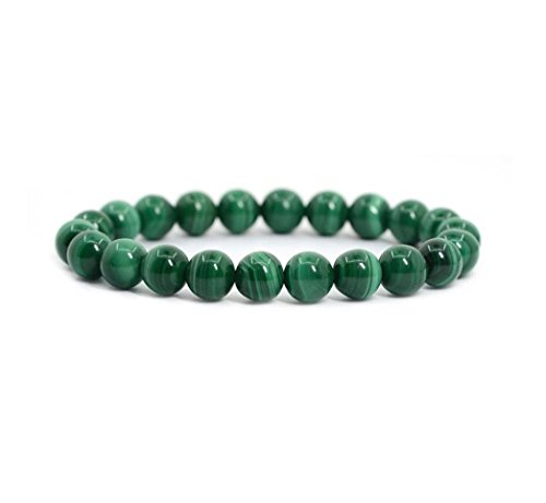 "Created Malachite Gemstone Bracelet 7"" Stretchy Bracelet 8mm Round Beads (Unisex) #GB8-11"