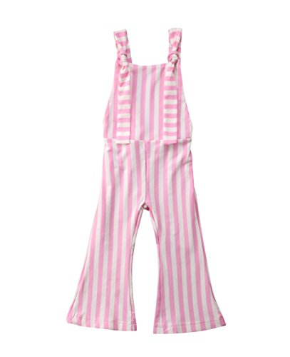Toddler Kids Baby Girl Stripes Bell-Bottom Jumpsuit Romper Overalls Pants Outfits (Pink, 2-3 T) ()