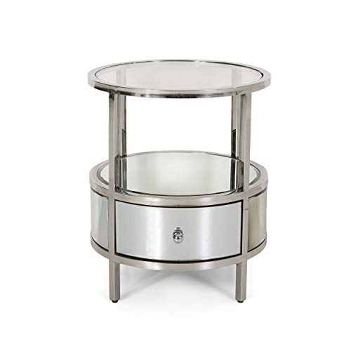 - Great Deal Furniture 308863 Cytheria Modern Round End Table with Tempered Glass Drawers and Stainless Steel Frame, Silver, Mirror