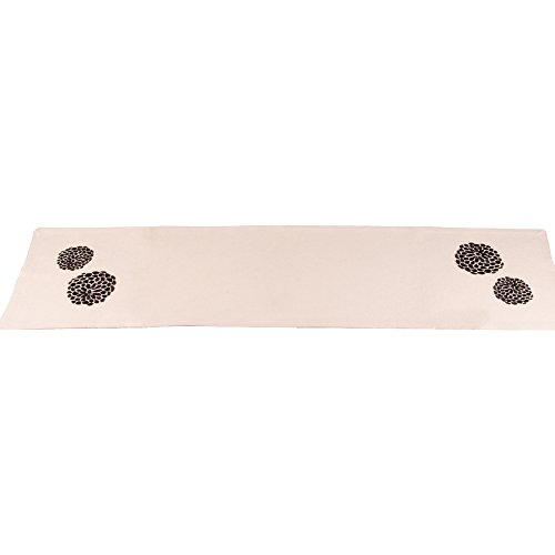 - Home Collections by Raghu 14x54 Zinnia Black - Grain Sack Cream Table Runner