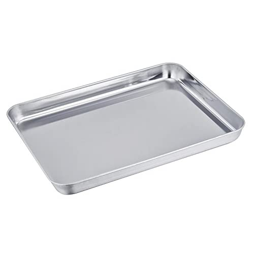 TeamFar Quarter Sheet Pan and Rack Set, Stainless Steel Baking / Cookie sheet Tray with Oven Safe Cooling Rack, Full Side Edge, Easy Clean - Dishwasher Safe