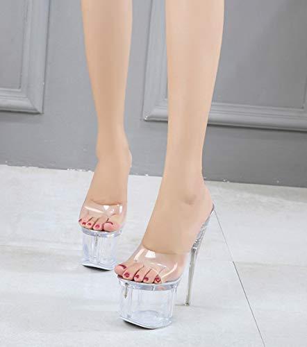 Pole Cm Estilete Dandanjie a Discoteca Para Mujer Zapatillas Sandalias Dance B 17 Plataforma Tacón Alto Transparentes Super Bombas Shoes 34eu SgSwxOqv