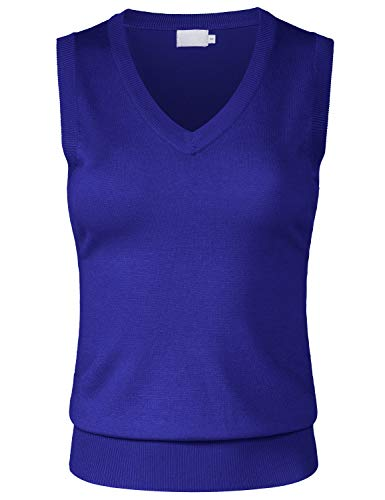 JSCEND Women's Solid Basic V-Neck Sleeveless Soft Stretch Pullover Sweater Vest Top RoyalBlue M