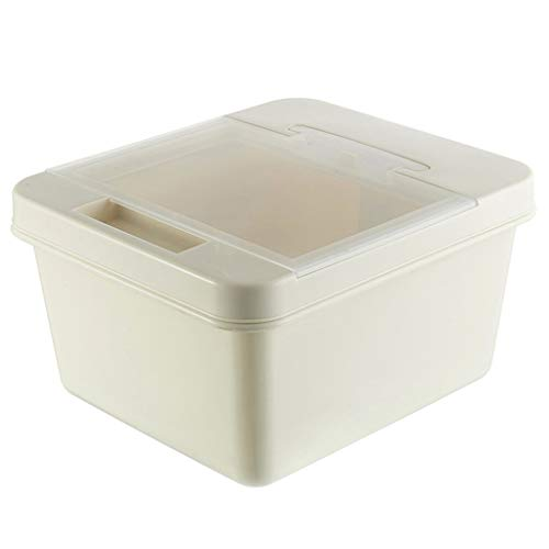 Kitchen Grain Rice Flour Storage Box, Dog Food Storage Container, Insect Proof Seal Moisture-proof 10kg (Color : Beige)