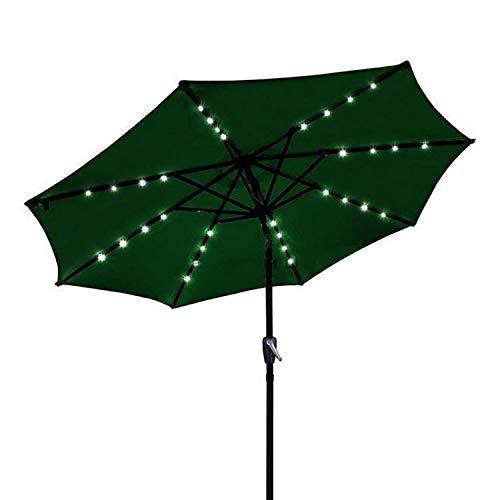 GC Global Direct 9 Ft Outdoor Tilt Umbrella with Solar LED Lights green