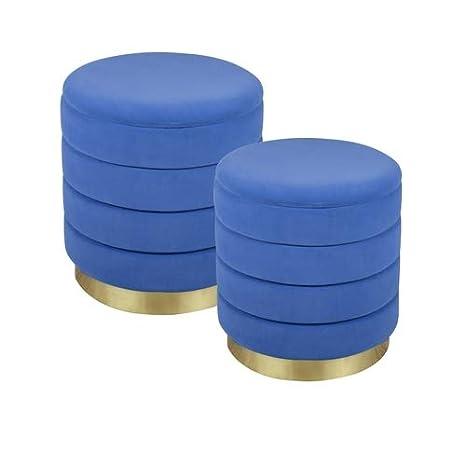 TABLE PASSION - Juego de 2 pufs Azules Duros de 44 y 38 cm