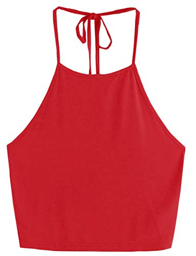 Romwe Women's Casual Cute Sleeveless Vest Halter Cami Crop Top Red XS