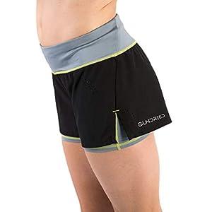 Sundried delle Donne Gym Shorts Podismo e Formazione 2-in-1 Pantaloncini Neri Corti