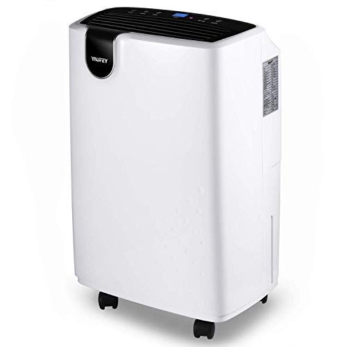 yaufey 30 Pint Home Dehumidifier for Medium to Large Rooms and Basements with 4 - Pint Water Bucket Continuous Drain Hose Outlet and Intelligent Humidity Control for Space up to 1500 Sq. Ft