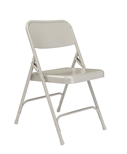 National Public Seating 200 Series All Steel Premium Folding Chair with Double Brace, 480 lbs Capacity, Gray (Carton of 4)