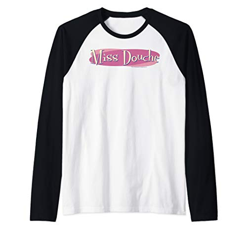 Crazy Ex Girlfriend Miss Douche Pink Oval Logo Raglan Baseball Tee