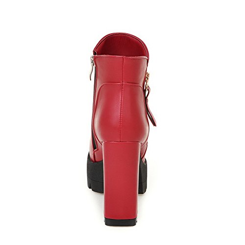 Ladies Heels Zipper A Leather Imitated Platform Solid amp;N Red Boots Chunky aqnw7AF5