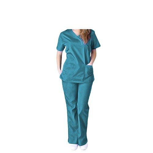 All-Star Women's Uniform Medical Scrubs Set W/Tie Back - (Small, (All Star Ladys)