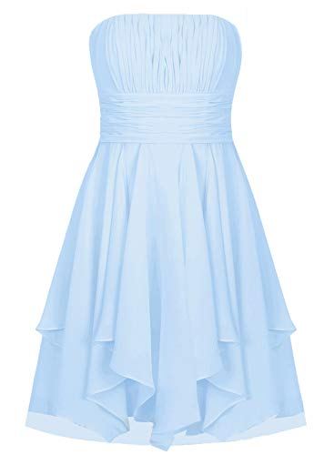 (EDressy Chiffon Bridesmaid Dresses Short Prom Party Dress Strapless Homecoming Formal Gowns Sky Blue US 28W)