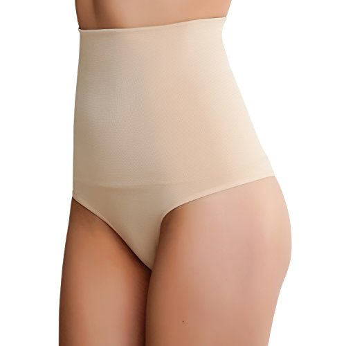 Smart Fit Me Women's High Waisted Thong Shapewear Tummy Control Panties (Nude, XXL)