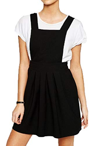 (ASMAX HaoDuoYi Womens Classic Overall Suspender A Line Pleated Mini Dress Black)
