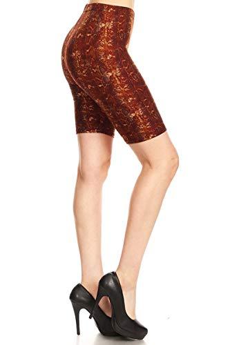 (Leggings Depot LBKX-S707-1X Golden Brown Boa Printed Biker Shorts, 1X Plus)