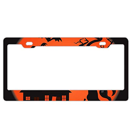 YEX Halloween Scary Scene License Plate Frame with 4 Holes Novelty Car Licence Plate Covers Auto Tag Holder Tag Sign 12