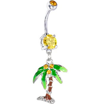 Body Candy Yellow And Green Palm Tree Dangle Belly Ring