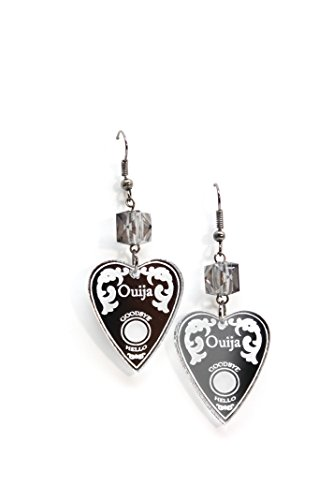 Silver Ouija Planchette Dangle Earrings with Gray Cube (Spirit Halloween Costume Coupon)