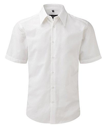 Russell Collection Short Sleeve Tencel?? Fitted Shirt M White