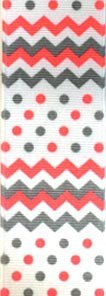 Venus Ribbon V81598-D 1 1/2 Inch Chevron Dot Printed Polyester Grosgrain Ribbon 5 yards White/Coral/Grey