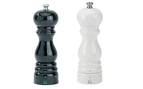 Peugeot Paris U'Select Lacquer Salt And Pepper Mill Set 7'', Black And White