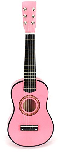 VT Classic Acoustic Beginners Children's Kid's 6 String Toy Guitar Musical Instrument w/ Guitar Pick, Extra Guitar String (Pink)